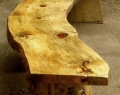 Large rustic austrian pine bench top view