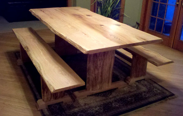 Red oak trestle table with live edge