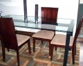Steel and Glass Dining Table